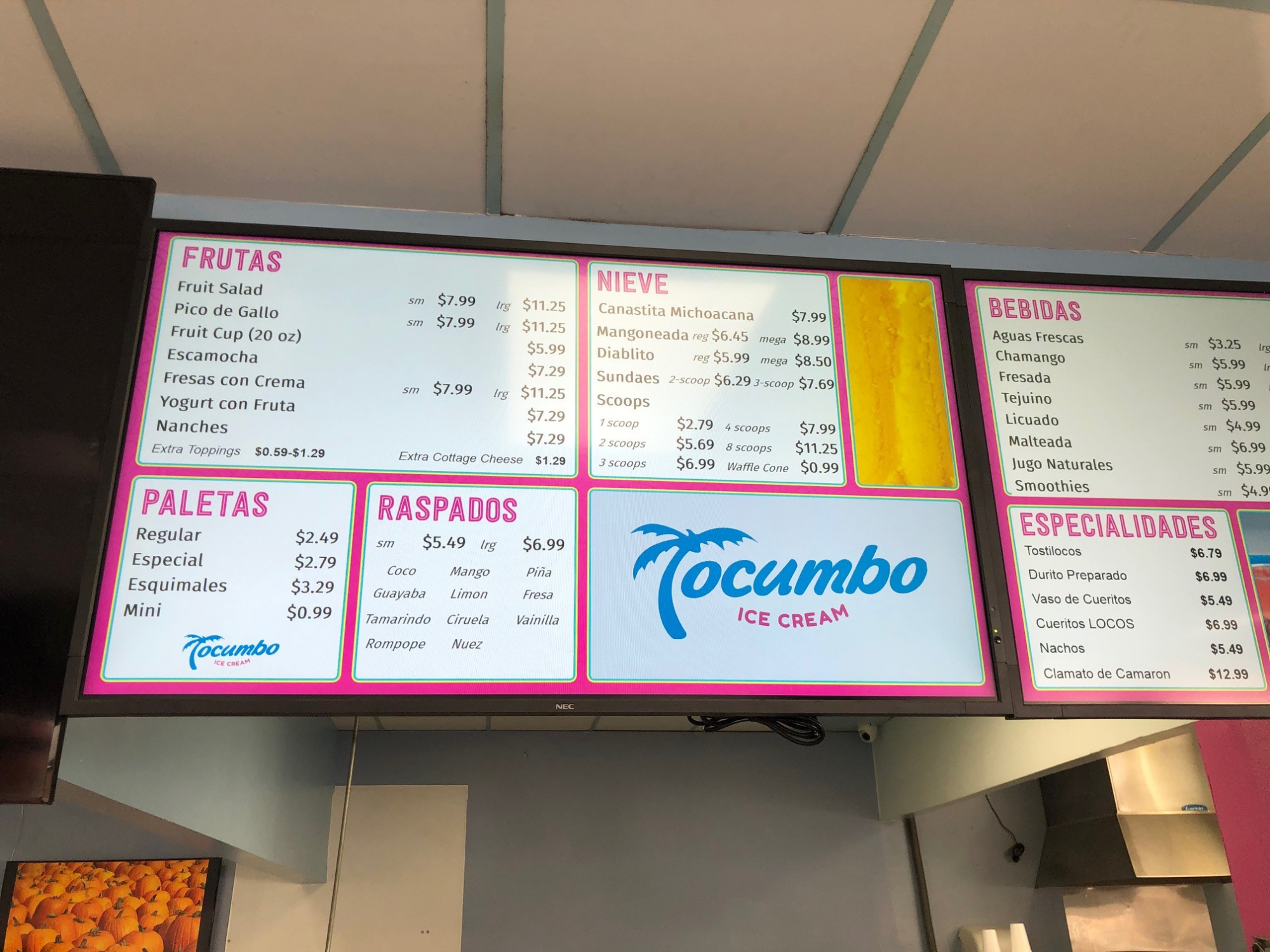 Tocumbo Ice Cream Digital Menu Boards