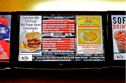 Menu boards can be updated from the corporate headquarters or a similar location.