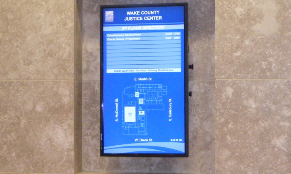 Building wayfinding digital screen - government - Wake County