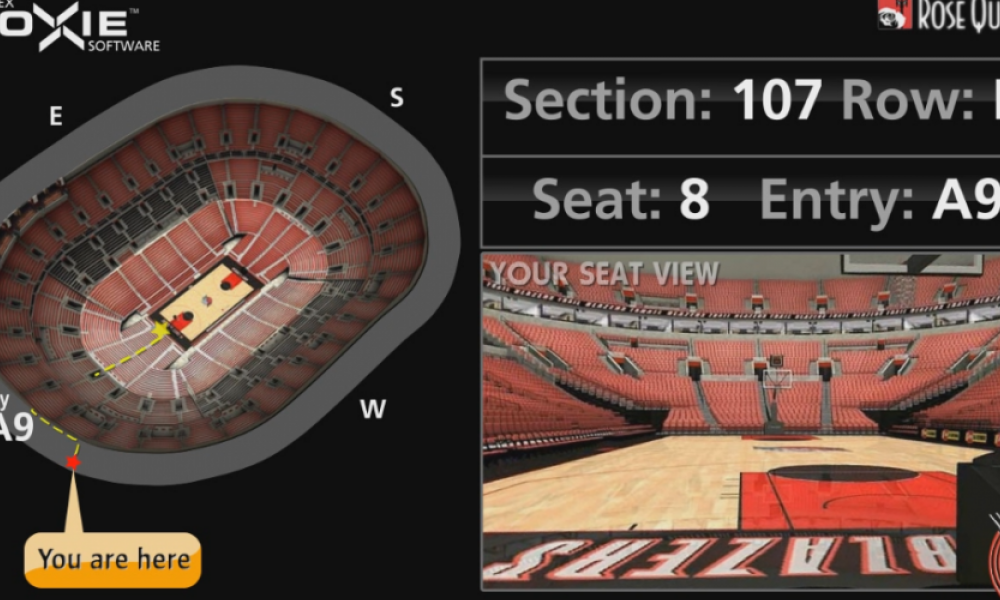 Interactive wayfiding screen for Portland Trail Blazers