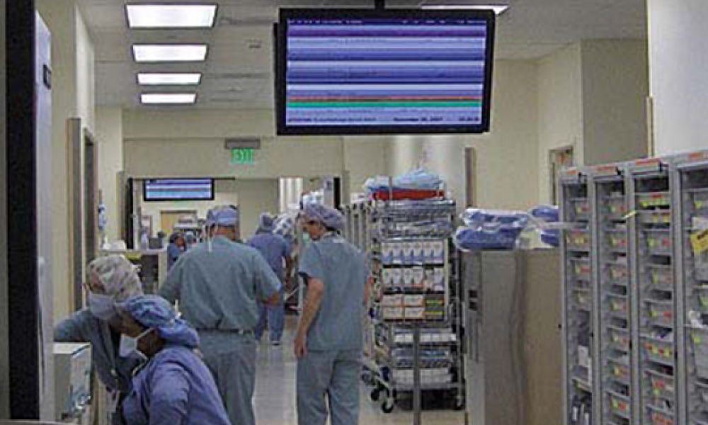 St Joseph Hospital digital screen in operating room area