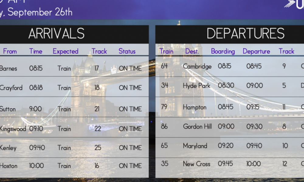 Real-time train schedule screen