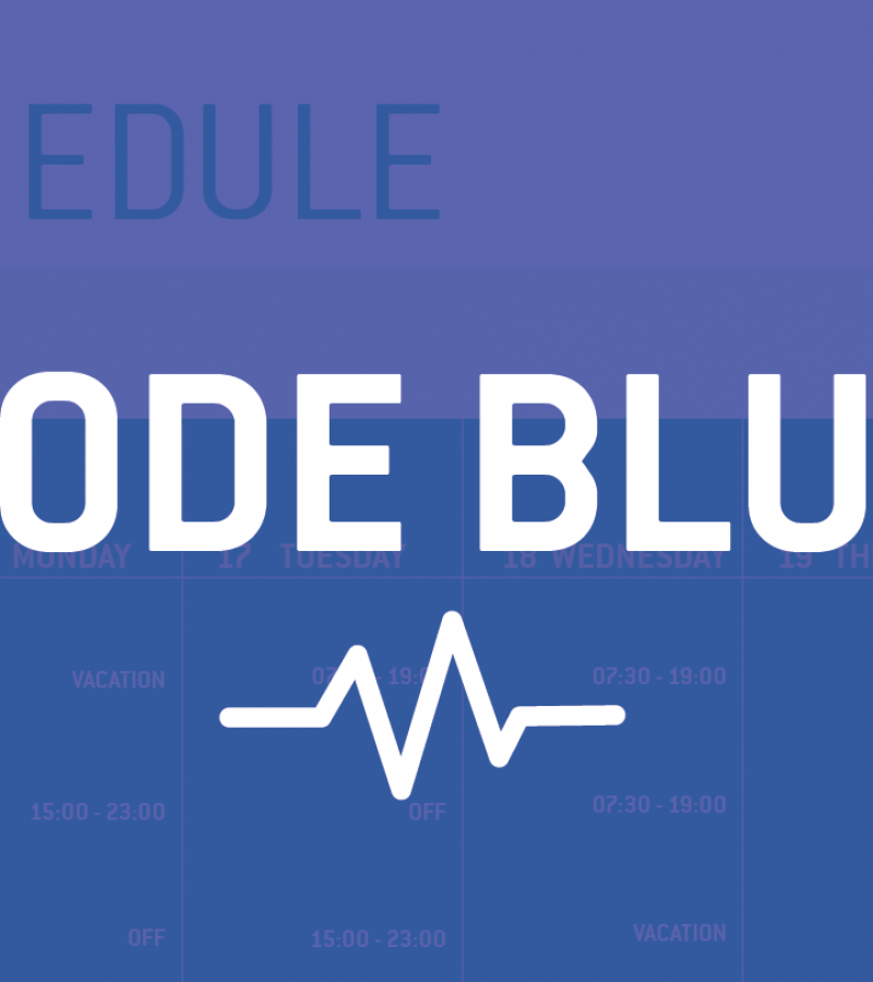 mock digital screen for healthcare showing code blue alert