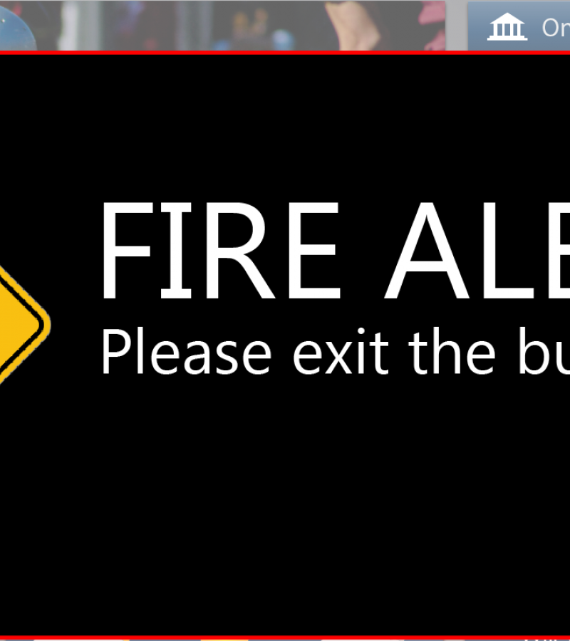 mock digital screen showing fire alert