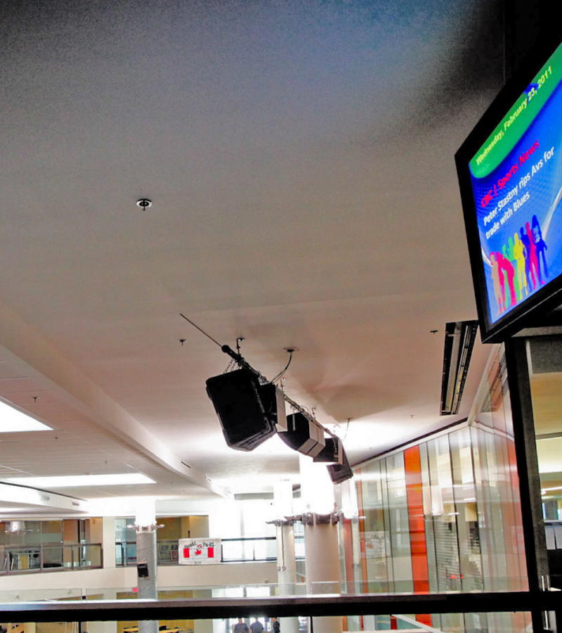digital screen with real-time information in education facility