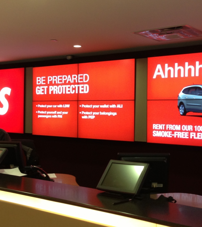 video wall in car rental location