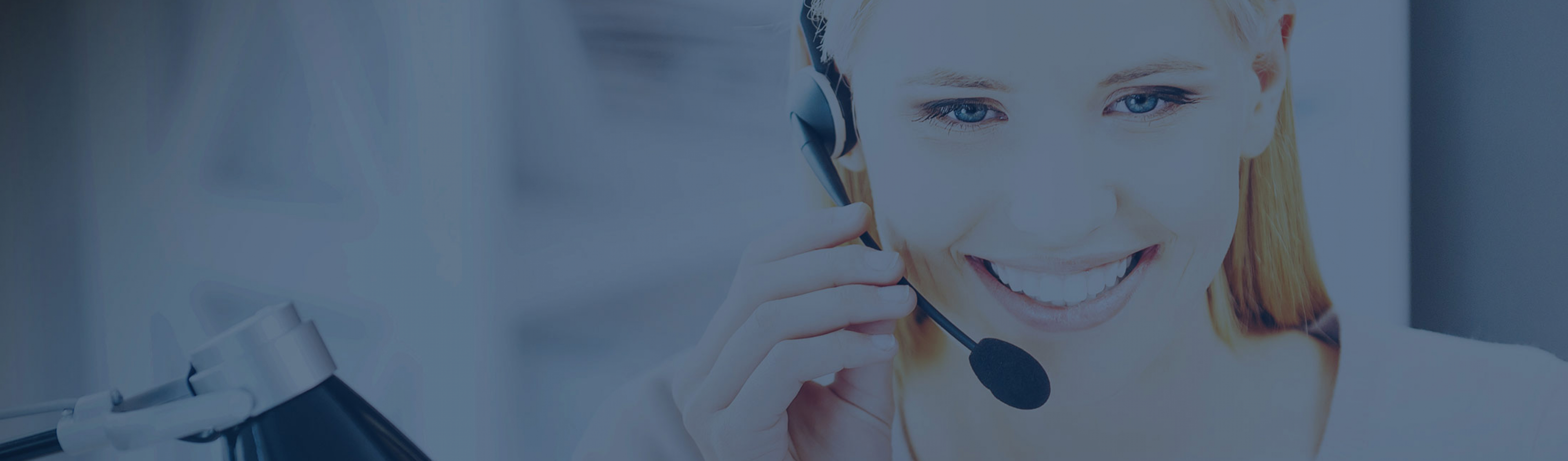 support person with headset