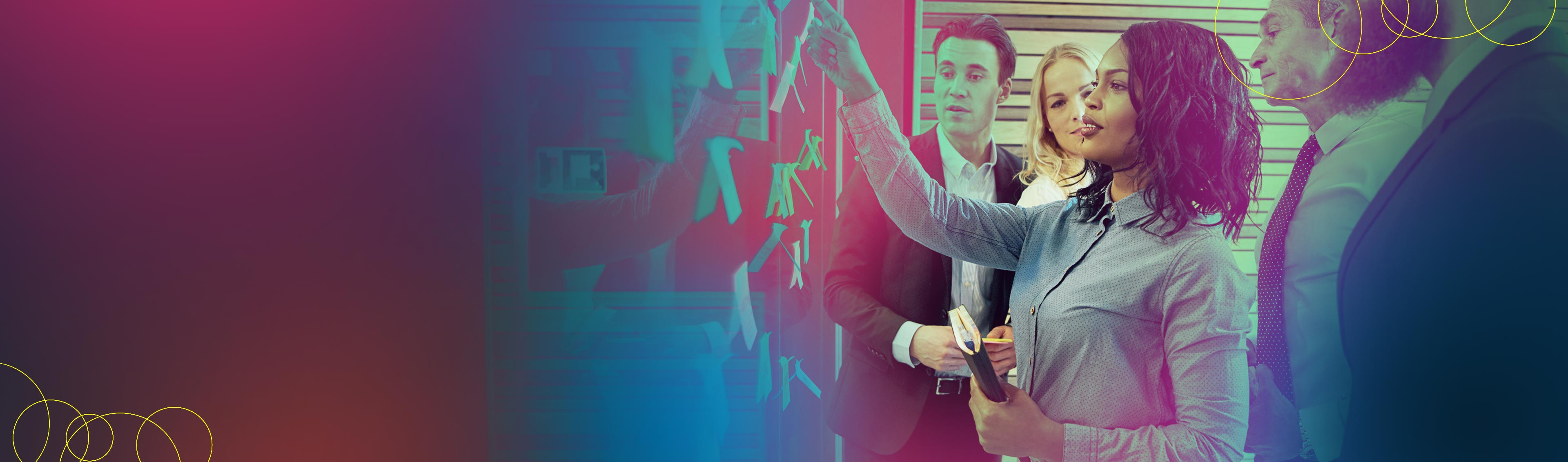 sales and marketing people touching digital screen
