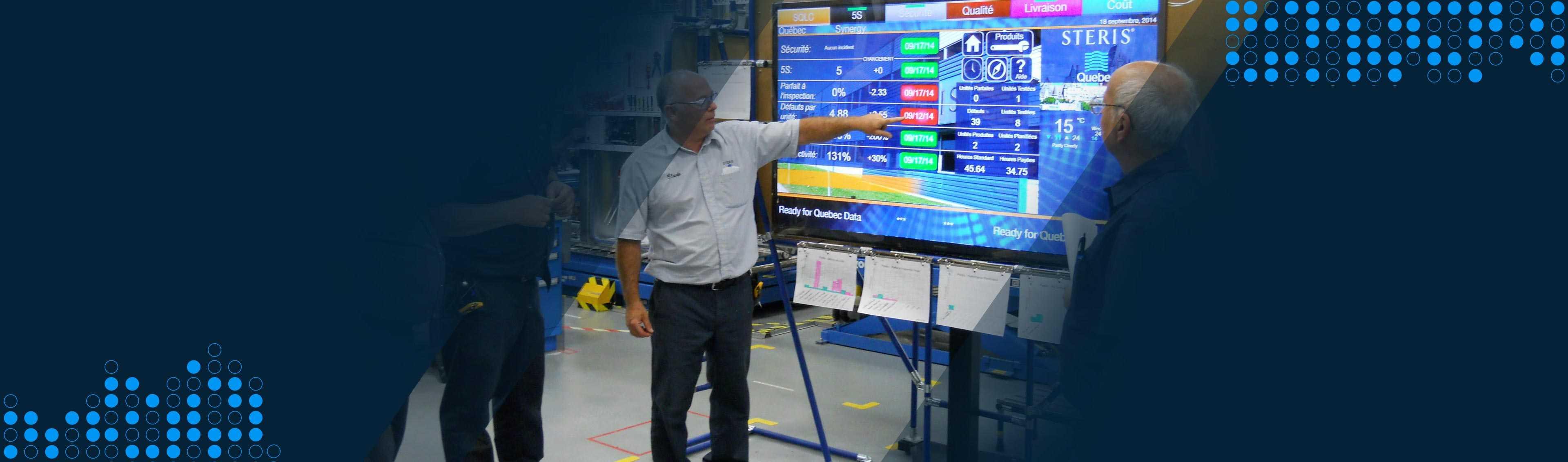 digital screen in manufacturing facility