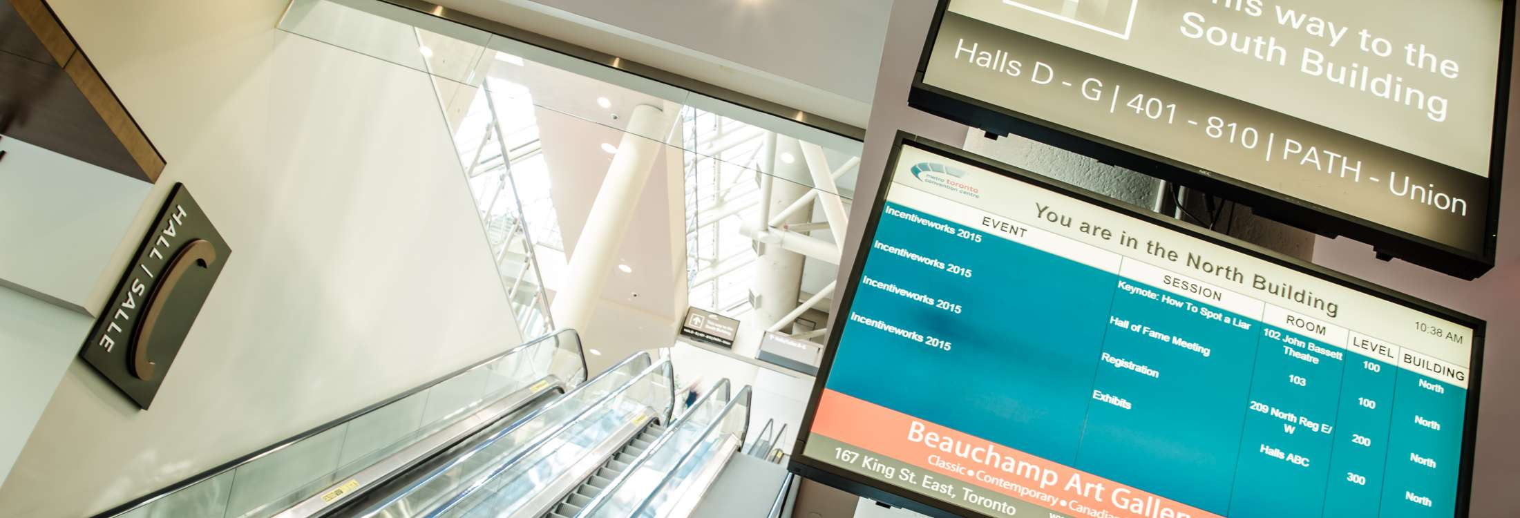 digital signage in lobby of convention center
