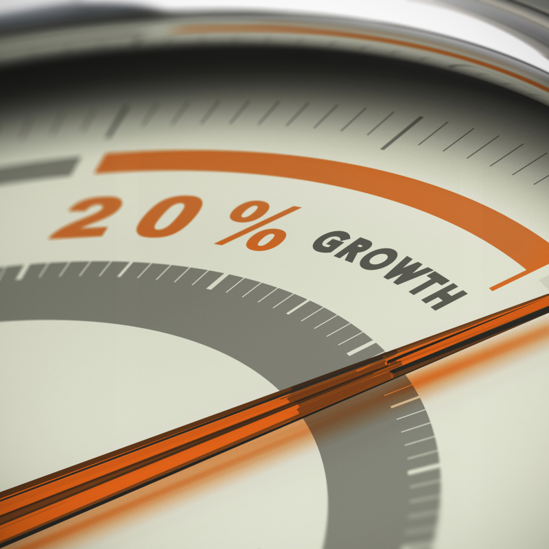 guage pointing to 20% growth