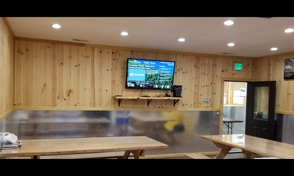 Idaho Forest Group lunch room digital screen